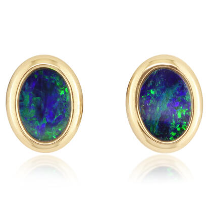 14K Yellow Gold 5x7 Oval Australian Opal Doublet Earrings | EOD267ADXCI