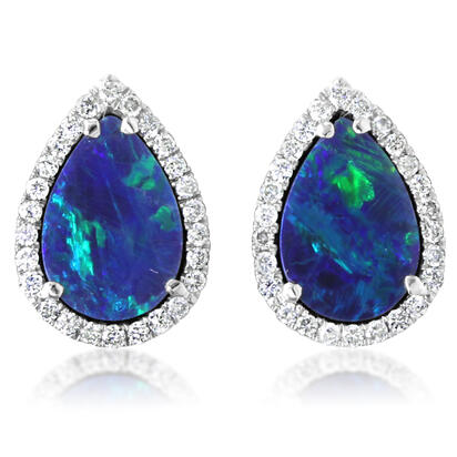 14K White Gold Australian Opal Doublet/Diamond Earrings | EOD286AD3WI
