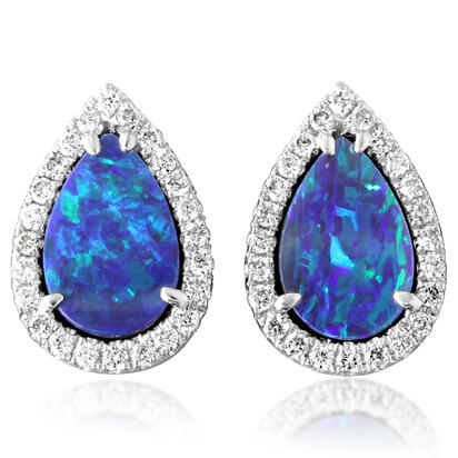 14K White Gold Australian Opal Doublet/Diamond Earrings | EOD287AD3WI