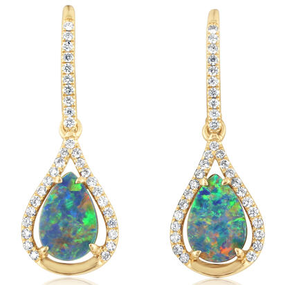 14K Yellow Gold Australian Opal Doublet/Diamond Earrings | EOD288AD2CI