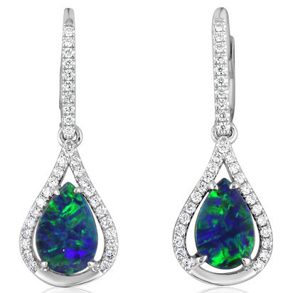 14K White Gold Australian Opal Doublet/Diamond Earrings | EOD288AD2WI