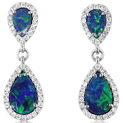 14K White Gold Australian Opal Doublet/Diamond Earrings | EOD289AD3WI