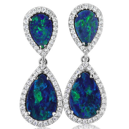 14K White Gold Australian Opal Doublet/Diamond Earrings | EOD290AD3WI