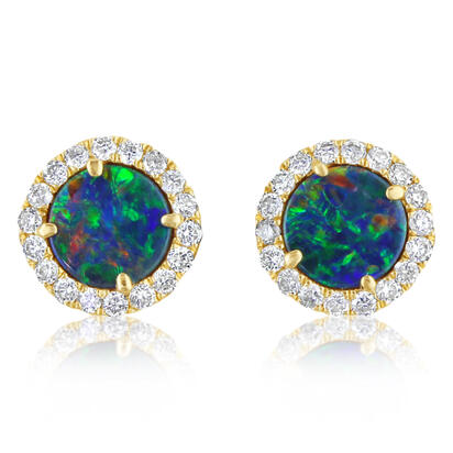 14K Yellow Gold Australian Opal Doublet/Diamond Earrings | EOD291AD3CI