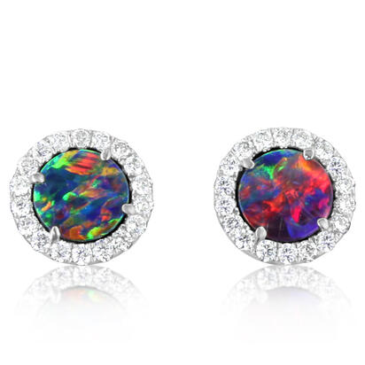 14K White Gold Australian Opal Doublet/Diamond Earrings | EOD291AD3WI