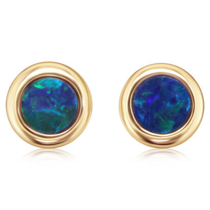 14K Yellow Gold 4mm Round Australian Opal Doublet Earrings | EOD319ADXCI