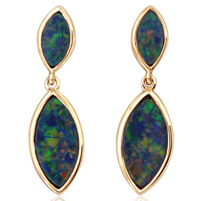14K Yellow Gold Australian Opal Doublet Earrings | EOD3272AXCI