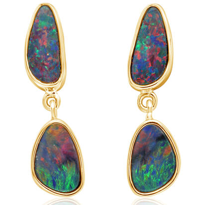 14K White Gold Australian Opal Doublet Earrings | EOD3271AXCI