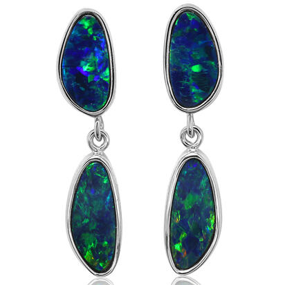 14K White Gold Australian Opal Doublet Earrings | EOD3272AXWI