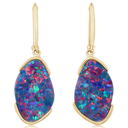 14K Yellow Gold Australian Opal Doublet Earrings | EOD338-11I