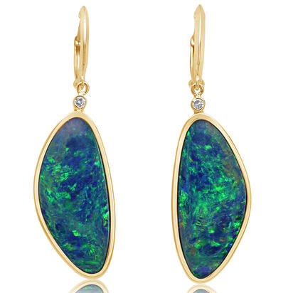 14K Yellow Gold Australian Opal Doublet/Diamond Earrings | EOD350G302C