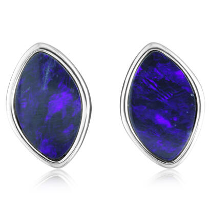 Sterling Silver Australian Blue Opal Doublet Earrings | EOD600SI-B