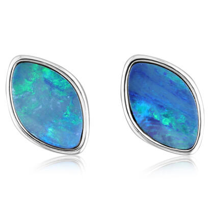 Sterling Silver Australian Green Opal Doublet Earrings