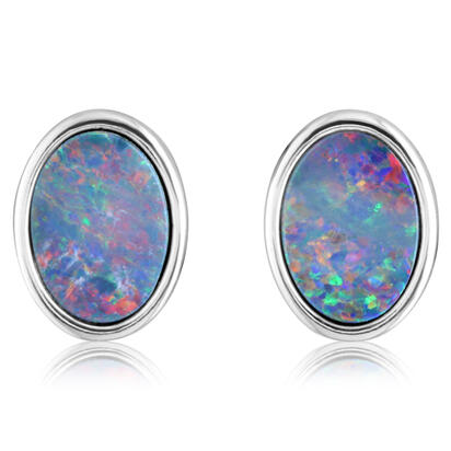 Sterling Silver Australian Red Opal Doublet Earrings | EOD600SI-R