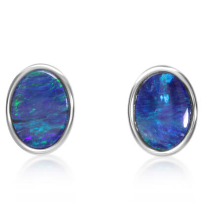 Sterling Silver Australian Blue Opal Doublet Earrings | EOD602SI-B