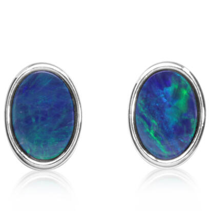 Sterling Silver Australian Green Opal Doublet Earrings | EOD602SI-G