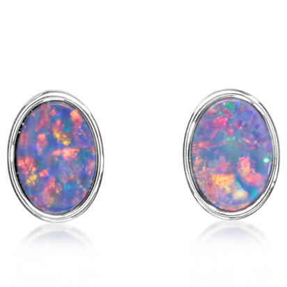 Sterling Silver Australian Red Opal Doublet Earrings