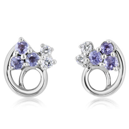 14K White Gold Yogo Sapphire/Diamond Earrings