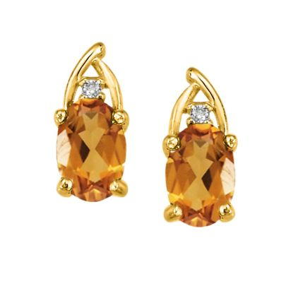 14K Yellow Gold Citrine/Diamond Earrings | EPF046C22CI
