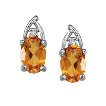 14K White Gold Citrine/Diamond Earrings | EPF046C22WI