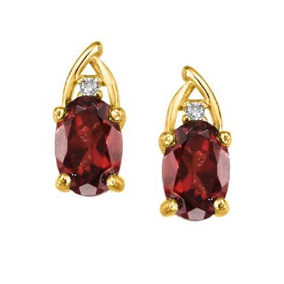 14K Yellow Gold Garnet/Diamond Earrings | EPF046G22CI