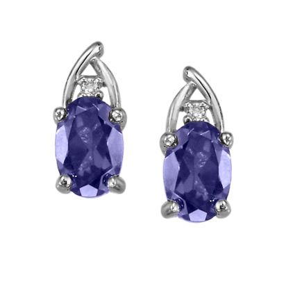 14K White Gold Tanzanite/Diamond Earrings | EPF046J22WI