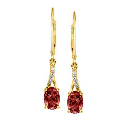 14K Yellow Gold Garnet/Diamond Earrings | EPF049G22CI