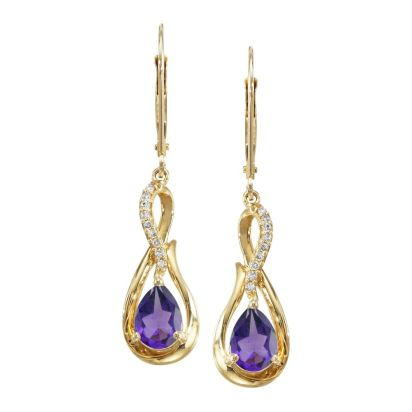 14K Yellow Gold Amethyst/Diamond Earrings | EPF068A22CI