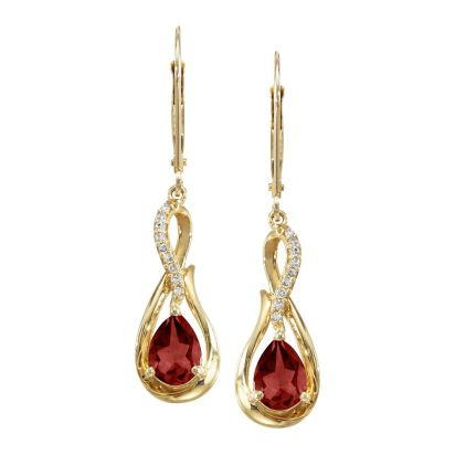 14K Yellow Gold Garnet/Diamond Earrings | EPF068G22CI