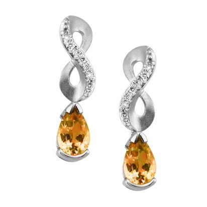 14K White Gold Citrine/Diamond Earrings | EPF069C22WI
