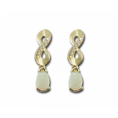 14K Yellow Gold Australian Opal/Diamond Earrings | EPF069N22CI