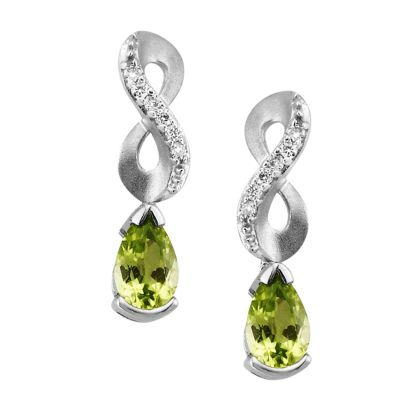 14K White Gold Peridot/Diamond Earrings | EPF069T22WI
