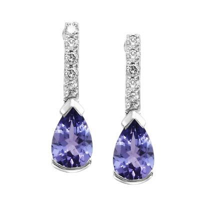 14K White Gold Tanzanite/Diamond Earrings