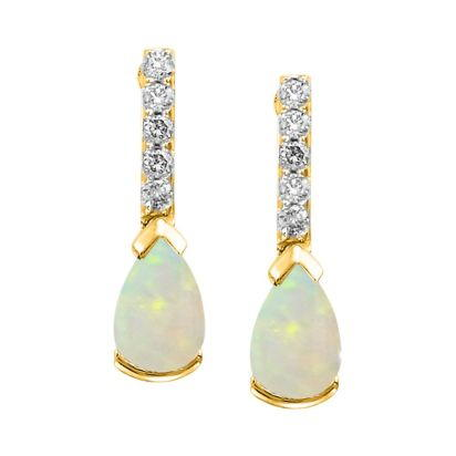 14K Yellow Gold Opal/Diamond Earrings | EPF070N12CI