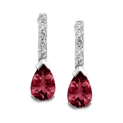 14K White Gold Ruby/Diamond Earrings | EPF070R22WI