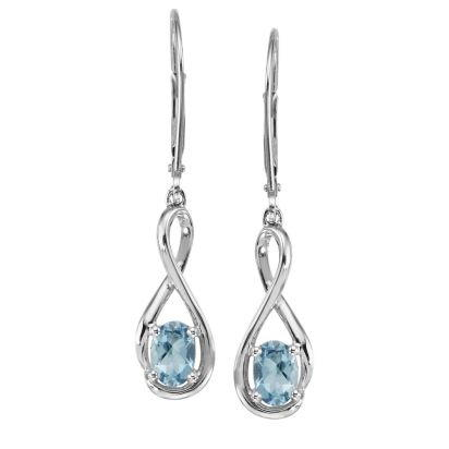 14K White Gold Aquamarine Earrings | EPF071Q2XWI