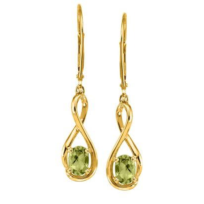 14K Yellow Gold Peridot Earrings | EPF071T2XCI