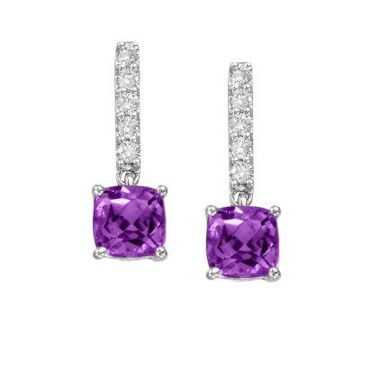 14K White Gold Amethyst/Diamond Earrings | EPF076AK2WI