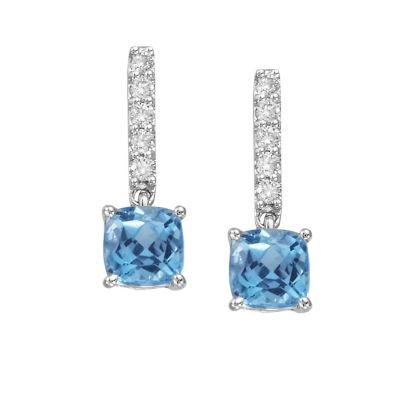 14K White Gold Blue Topaz/Diamond Earrings | EPF076B22WI