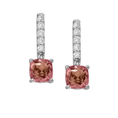 14K White Gold Pink Tourmaline/Diamond Earrings | EPF076HK2WI
