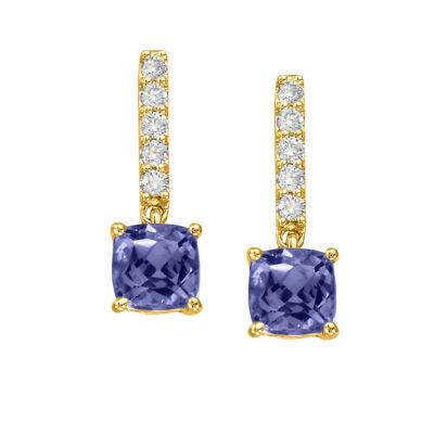 14K Yellow Gold Tanzanite/Diamond Earrings | EPF076JK2CI