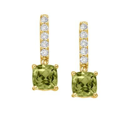 14K Yellow Gold Peridot/Diamond Earrings | EPF076TK2CI