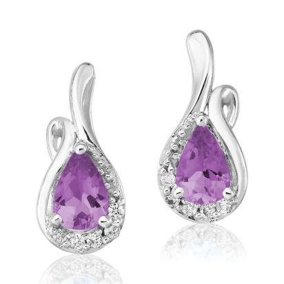 14K White Gold Amethyst/Diamond Earrings | EPF082A23WI