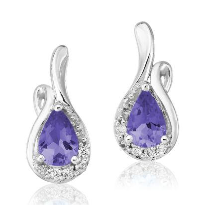 14K White Gold Tanzanite/Diamond Earrings | EPF082J23WI
