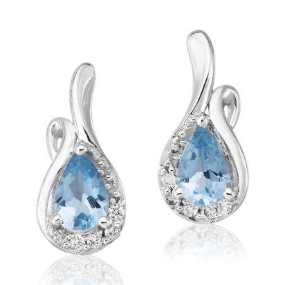 14K White Gold Aquamarine/Diamond Earrings | EPF082Q23WI