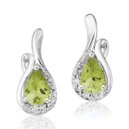 14K White Gold Peridot/Diamond Earrings | EPF082T23WI