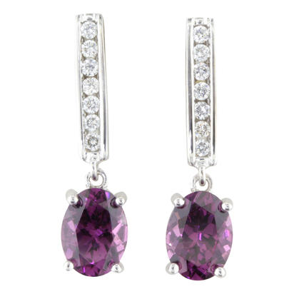 14K White Gold Grape Garnet/Diamond Earrings