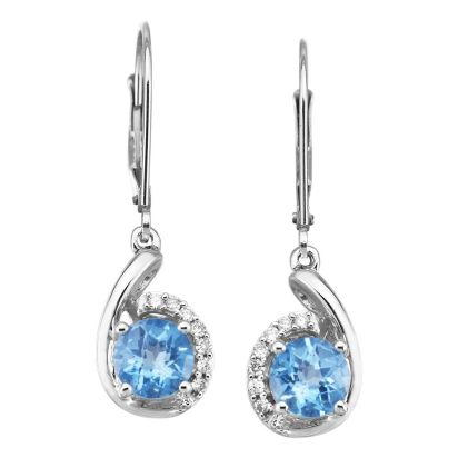 14K White Gold Blue Topaz/Diamond Earrings | EPF094BC2WI