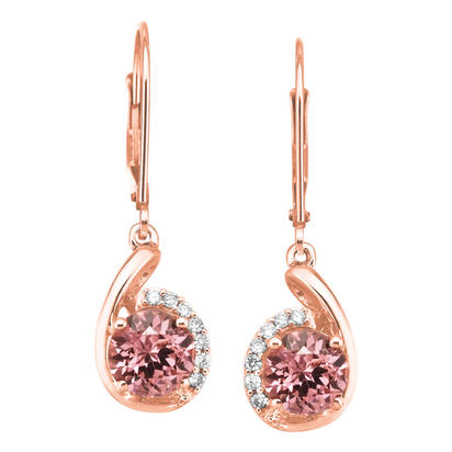 14K Rose Gold Lotus Garnet/Diamond Earrings | EPF094LG2RI