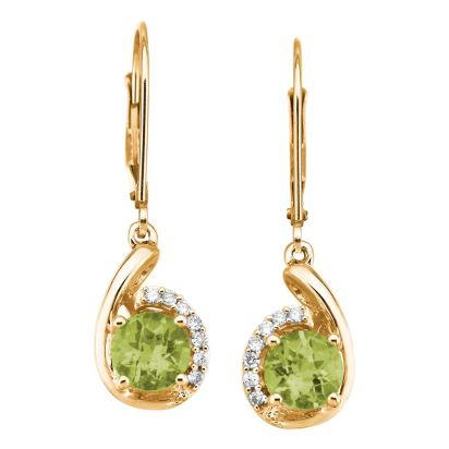 14K Yellow Gold Peridot/Diamond Earrings | EPF094TC2CI